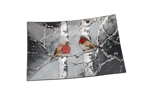 Winter Robin Glass Plate - 2 styles available