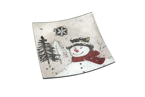 Small Snowman Glass Plate