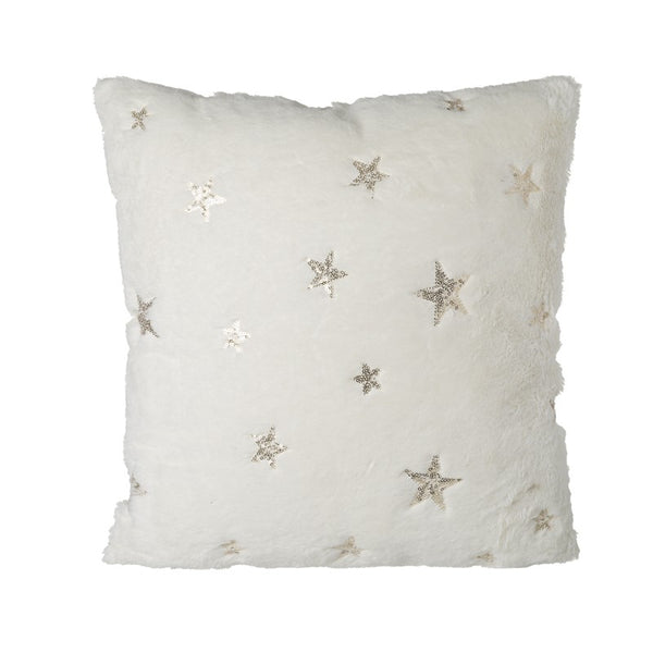 Soft white cushion with gold stars