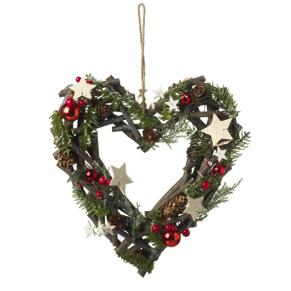 Red & Woodland White Stars Heart Wreath
