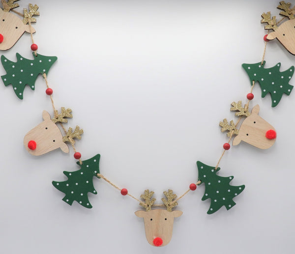 Wooden Reindeer & Christmas Tree Bunting