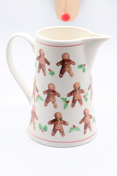 Bone China Jug - Gingerbread Men/Plum Pudding - Various Sizes Available