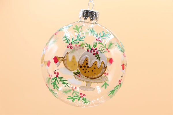 Clear Glass Bauble - Plum Pudding/Gingerbread Men
