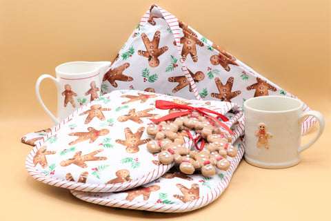 Fabric Oven Gloves, Tea Towel & Apron - Gingerbread Man