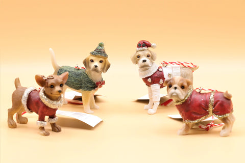 Resin Hanging Dogs In Coats Christmas Decorations