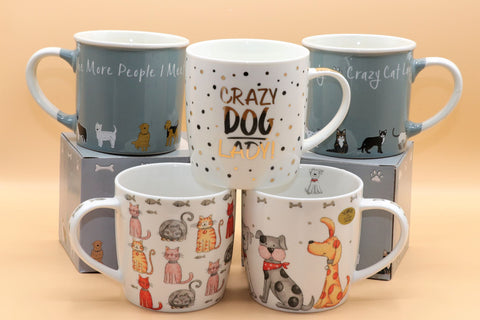 Cartoon Dog & Cat Themed Mug