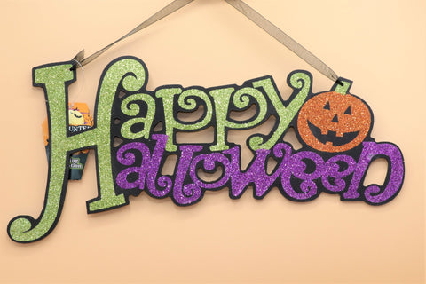 Hanging Glittery Halloween Signs - 3 available