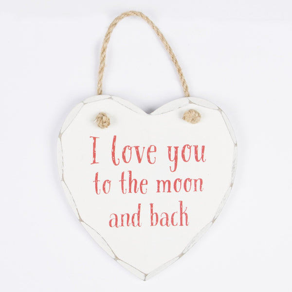 I love you to the moon and back hanging heart