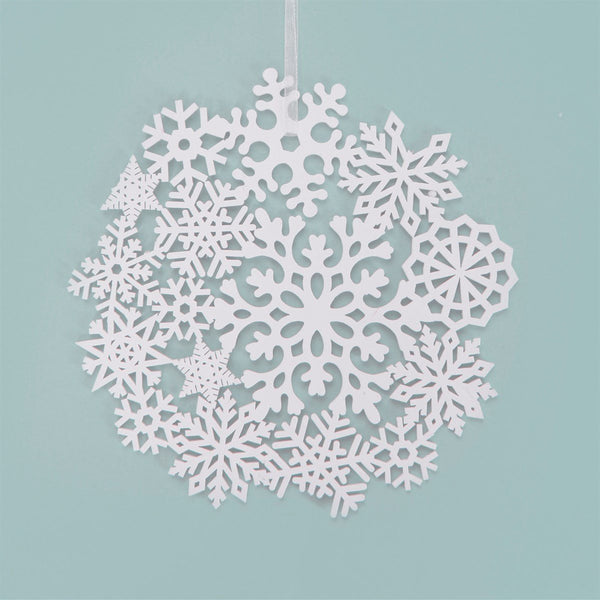 Winter white snowflake hanging decoration