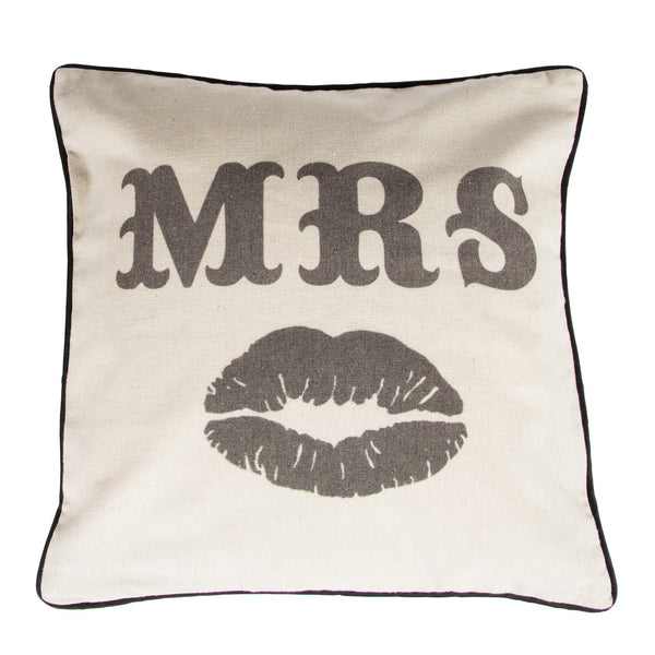Rustic Mrs Moustache Cushion