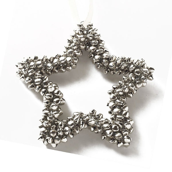 Small hanging silver star with bells