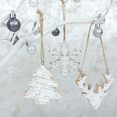 Wooden hanging tree decs, set of 3