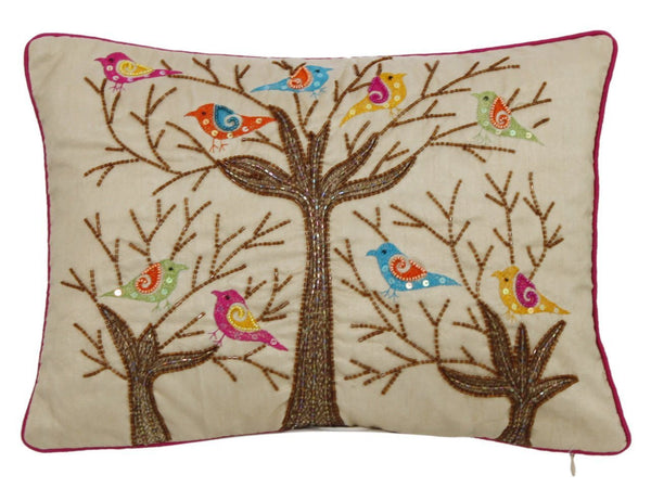 Sequin birds in tree cushion