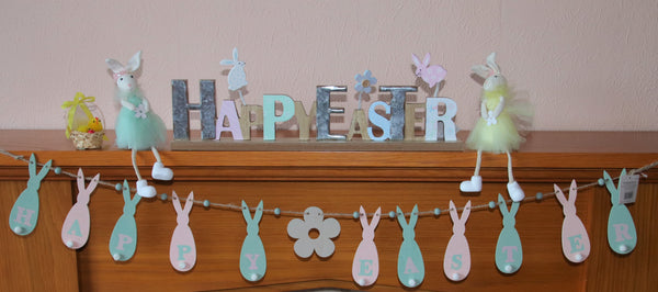 Wooden Easter Bunting