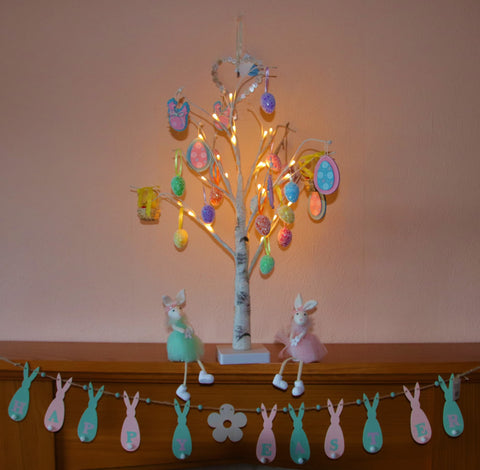 White Easter Tree & Hanging Eggs