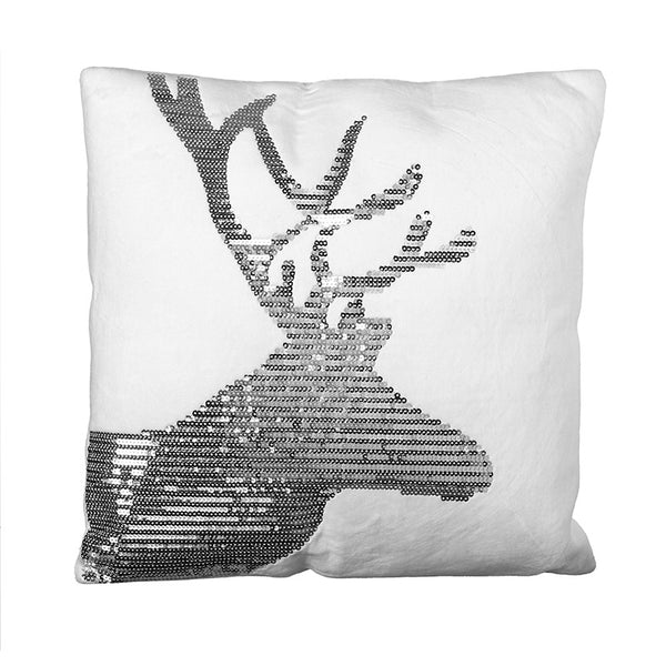 White Square Reindeer Cushion