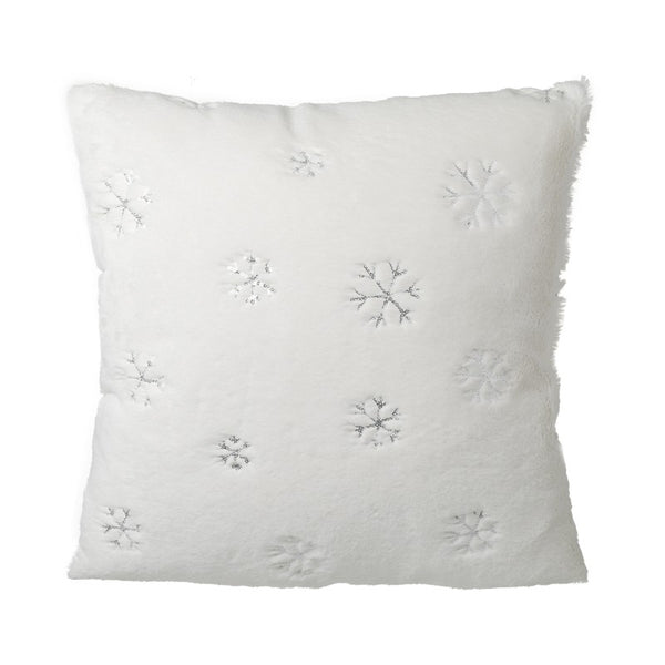 Soft white cushion with snowflakes