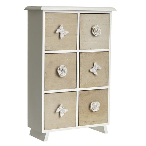 6 drawer cabinet with decorative knobs