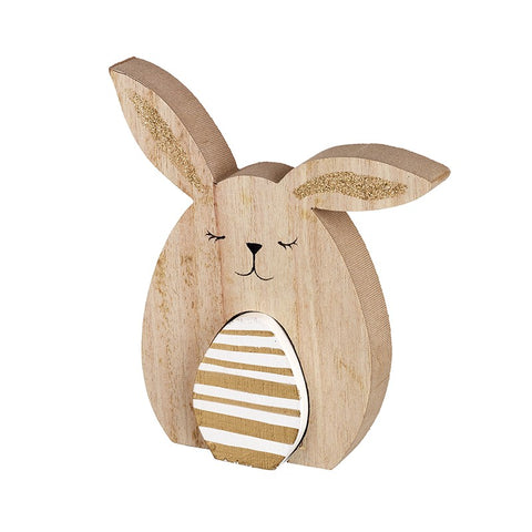 Wooden Easter Bunny with Egg
