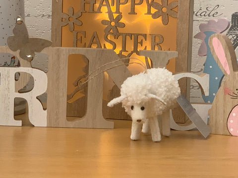 Chenille Effect White Sheep Decoration