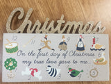 12 Days of Christmas wooden block