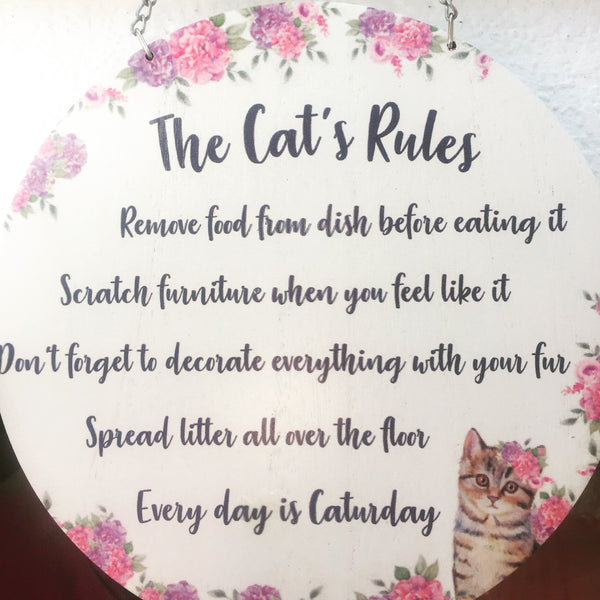 The Cat's Rules Round Hanging Plaque