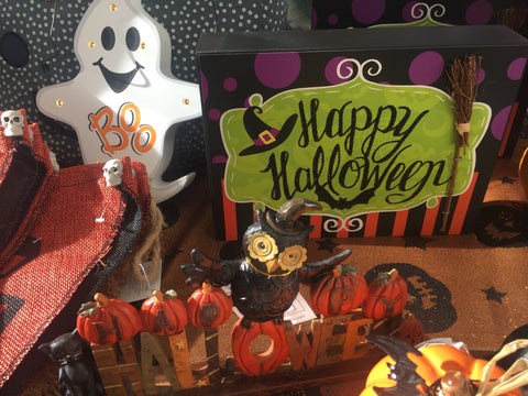 Happy Halloween Wooden Block Sign