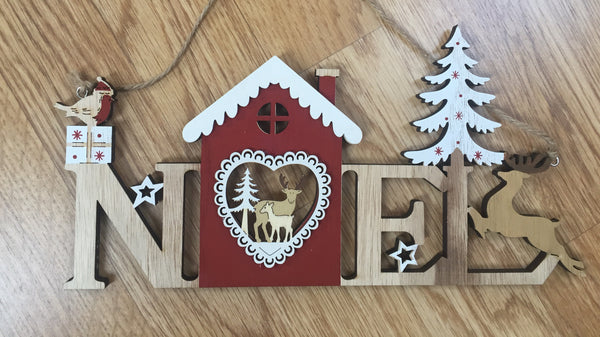 Christmas wooden laser cut hanging signs