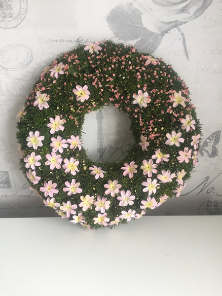 Easter Floral Mossy Wreath