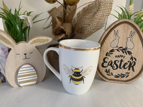 Bee Happy White & Gold China Mug