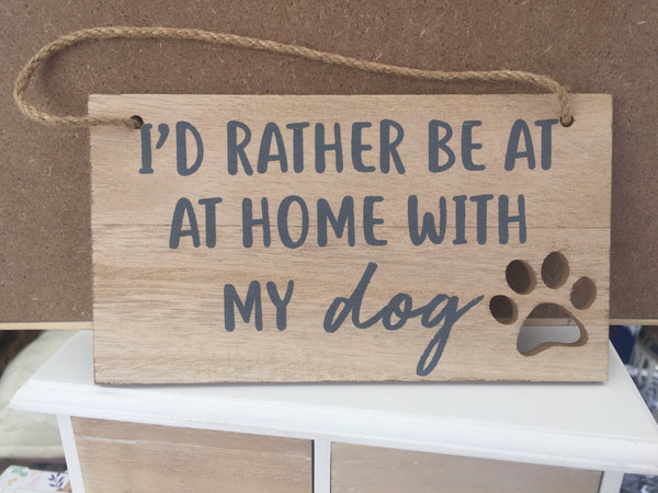 Wooden Hanging Dog Plaque With Paw Cutout