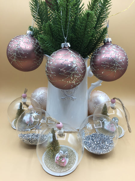 Bronze Glittery Christmas Tree Bauble