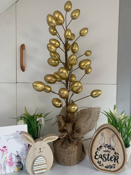 Gold Easter Tree In Hessian Covered Pot