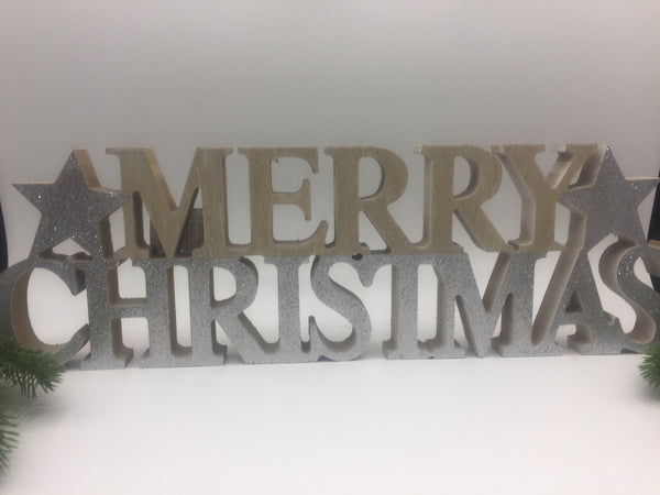Merry Christmas Wooden Standing Words - 2 designs available
