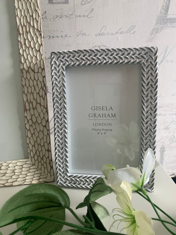 Grey/White Weave Effect Photo Frame