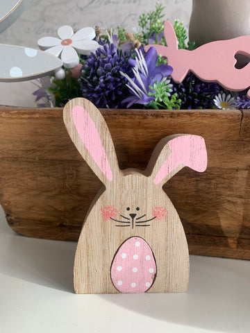Wooden Easter Bunny With Pink Egg