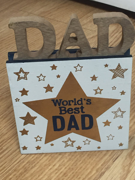 Dad Standing Wooden Block Sign