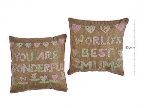 Worlds Best Mum / You Are Wonderful Cushion