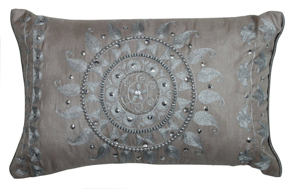 Taupe sequin cushion