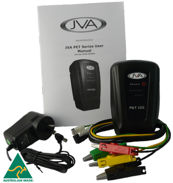 JVA PET100 Portable Electric Fence Energiser - 0.11J 1 km - JVA Technologies - Electric Fencing - Agricultural Fencing - Equine Fencing - Security Fencing