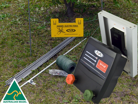 JVA SV2 Kit - Solar Electric Fence Energizer - 0.1 Joule, 1 km PLUS hardware - JVA Technologies - Electric Fencing - Agricultural Fencing - Equine Fencing - Security Fencing