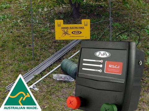 JVA RSG1 Fence Kit: Portable Electric Fence Energiser (0.11J 1 km) PLUS hardware - JVA Technologies - Electric Fencing - Agricultural Fencing - Equine Fencing - Security Fencing