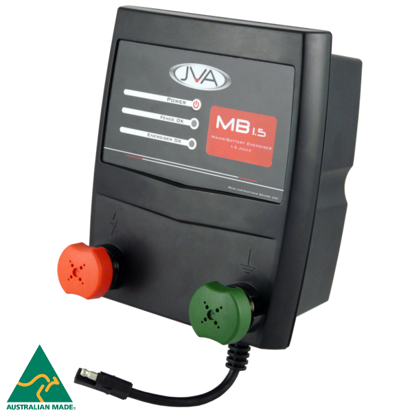 JVA MB1.5 Mains/Battery Electric Fence Energiser 1.5J 15km - JVA Technologies - Electric Fencing - Agricultural Fencing - Equine Fencing - Security Fencing