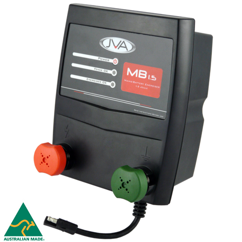 JVA MB1.5 Mains/Battery Electric Fence Energizer 1.5J 15km - JVA Technologies - Electric Fencing - Agricultural Fencing - Equine Fencing - Security Fencing