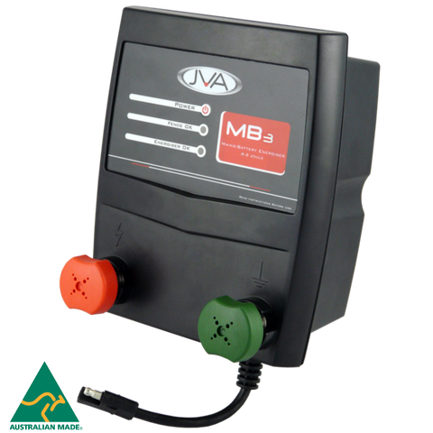 JVA MB3 Mains/Battery Electric Fence Energiser 3J 30km - JVA Technologies - Electric Fencing - Agricultural Fencing - Equine Fencing - Security Fencing