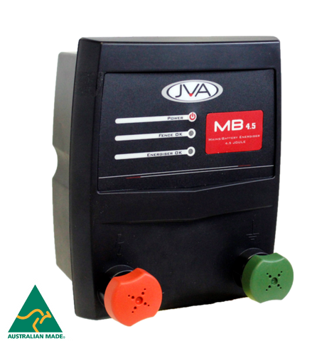 JVA MB4.5 Mains/Battery Electric Fence Energizer 4.5J 45km - JVA Technologies - Electric Fencing - Agricultural Fencing - Equine Fencing - Security Fencing