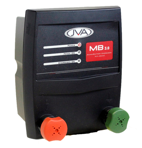 JVA MB3 Mains/Battery Electric Fence Energizer 3J 30km - JVA Technologies - Electric Fencing - Agricultural Fencing - Equine Fencing - Security Fencing