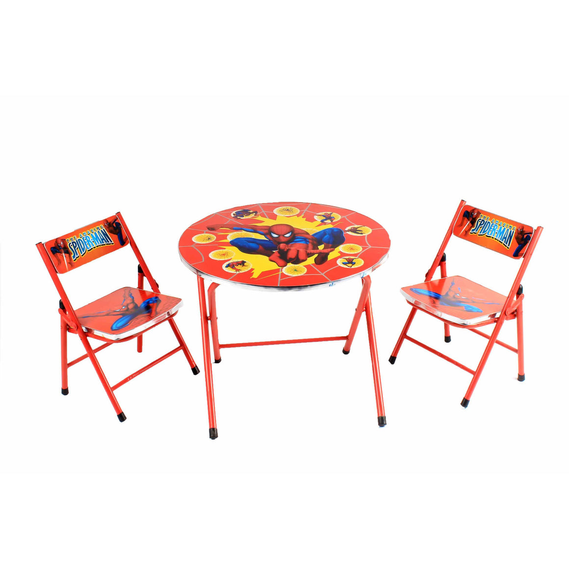 Spider Man Foldable Round Study Table For Kids With 2 Chairs