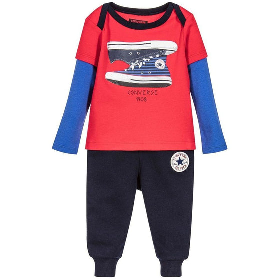 Converse Baby Boys Red & Blue Outfit Set - 18M - Cuddlecircle