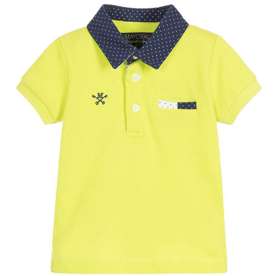Mayoral Baby boys Lime Green Polo - 6M - Cuddlecircle